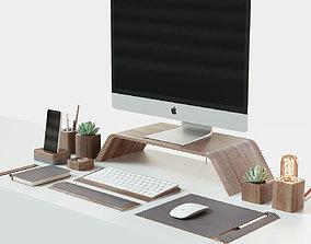 3D model notebook iMac and Grovemade desktop