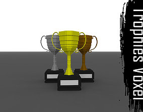 Voxel Trophies - Gold Silver Bronze 3D model realtime