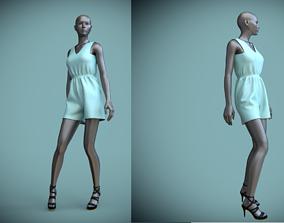 manequin 3D model jumpsuit shorts on female mannequin