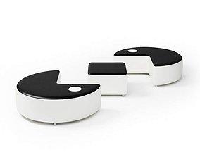 Black And White Sofa And Ottoman Set 3D