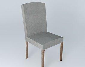 Chair cover light gray linen 3D