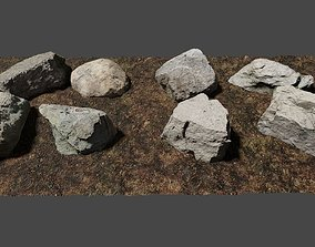 Photo-Realistic Boulders Set of 8 3D model