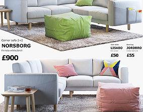 IKEA NORSBORG Four-seat corner sofa with coffee 3D 2