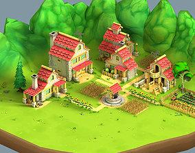 Cartoon Village 3D asset