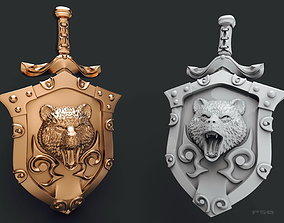 3D printable model pendant shield with bear