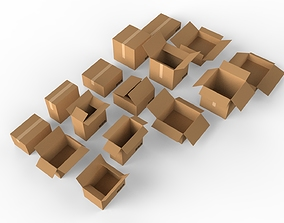 3D model Cardboard boxes Collection cargo-container