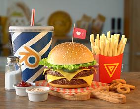 Burger Combo B28 3D asset