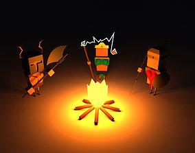 Diablo 2 Resurrected characters in a cartoon 3D asset 3