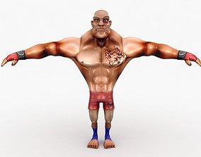 Cartoon MMA fighter 3D asset