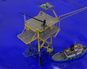 4 pile production platform 3D model