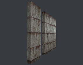 3D model Modular concrete walls - New and Old variations