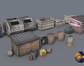 low-poly lowpoly dirty trash bag and container 3