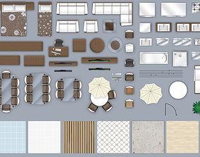 2d furniture floorplan top down view style-3 PSD 3D model