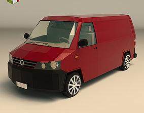 3D model Low Poly Transporter Van 04