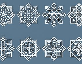 Collection of Arabic ornaments 3D asset
