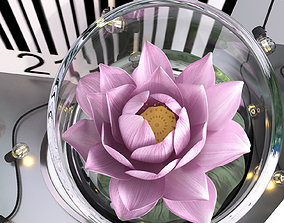 3D model Pink water lily lotus plants vase with string led