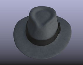 Grey Color PBR Stylish Fedora Hat 3D asset low-poly