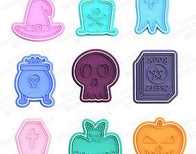 Halloween elements cookie cutter set of 9 3D print model