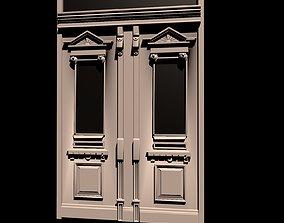 3D model door wood art nouveau