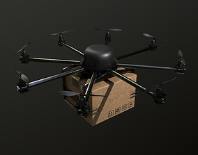 Cargo drone-medic and package 3D model