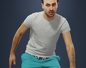 3D asset Casual Sports Man Filip plays football and 2