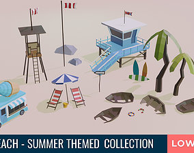 3D model Beach and Summer themed LOW POLY Collection