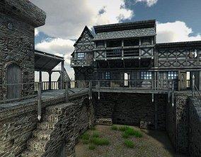 3D asset VR / AR ready Medieval Castle brick