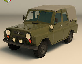 3D asset Low Poly Military Jeep 04