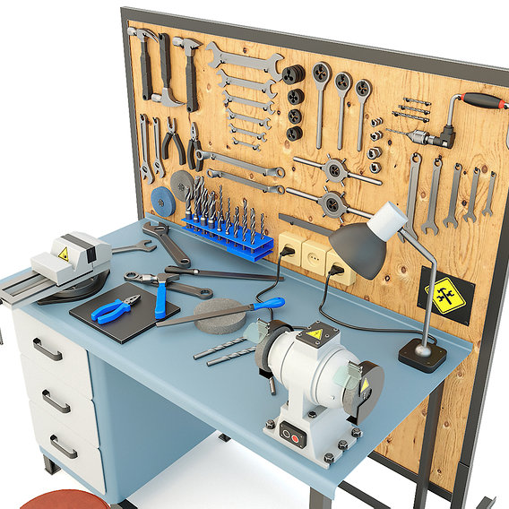 Workbench and garage tools (21 Items) - Collection 2