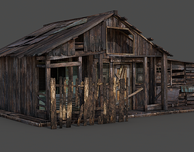 3D model low-poly Old Wooden House