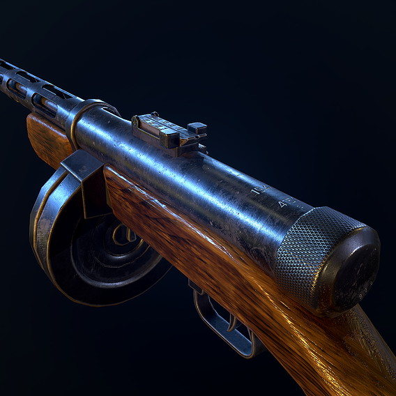 PPD40 soviet ww2 machine gun pbr Low-poly