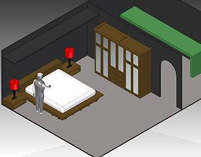 King Size Platform Bed 3D model