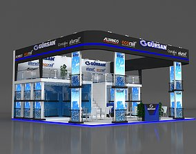 3D Exhibition Stand 10x9m Height 500 cm 3 Side Open