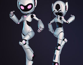 rigged Female Robot Rigged 3D model