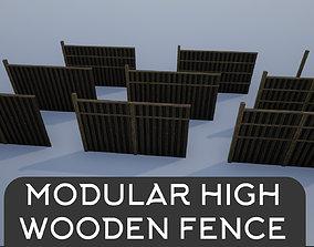 Modular High Wooden Fence 3D model
