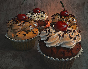 cupcake with cherry cupcakes 3D
