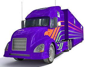 Blue Race Car Transporter Truck 1 3D