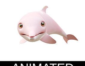 Amazon Pink Dolphin Animated Cartoon Style 3D model