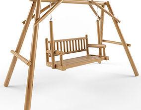 Multiple Seats Wooden Swing 13 3D model