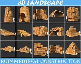 3D Low poly Yellow Desert Ruin Medieval Construction Pack