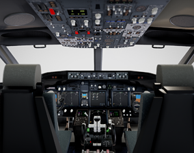 3D pilot Boeing 737 Airplane Cockpit
