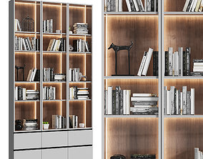 Showcase cabinet with books 3D model