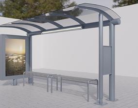 3D asset realtime PBR Bus Stop