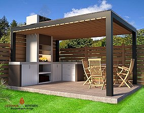 furniture outdoor kitchen barbecue 3D rigged