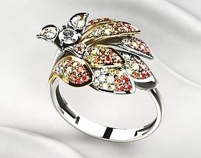 Beautiful Golden Ring with Diamonds 3D print model
