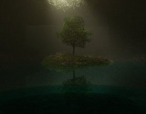 High poly 3d model Natural lighting with tree animated