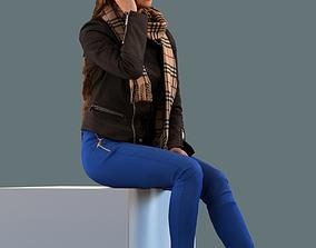 Low poly set of 3D women sitting