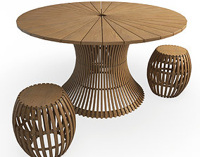 Swing Wooden Table Stools Unopiu 3D
