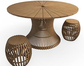 Swing Wooden Table Stools Unopiu 3D