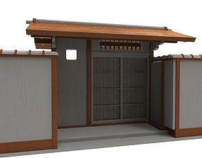 Modular Wood Asian Wall 3D model